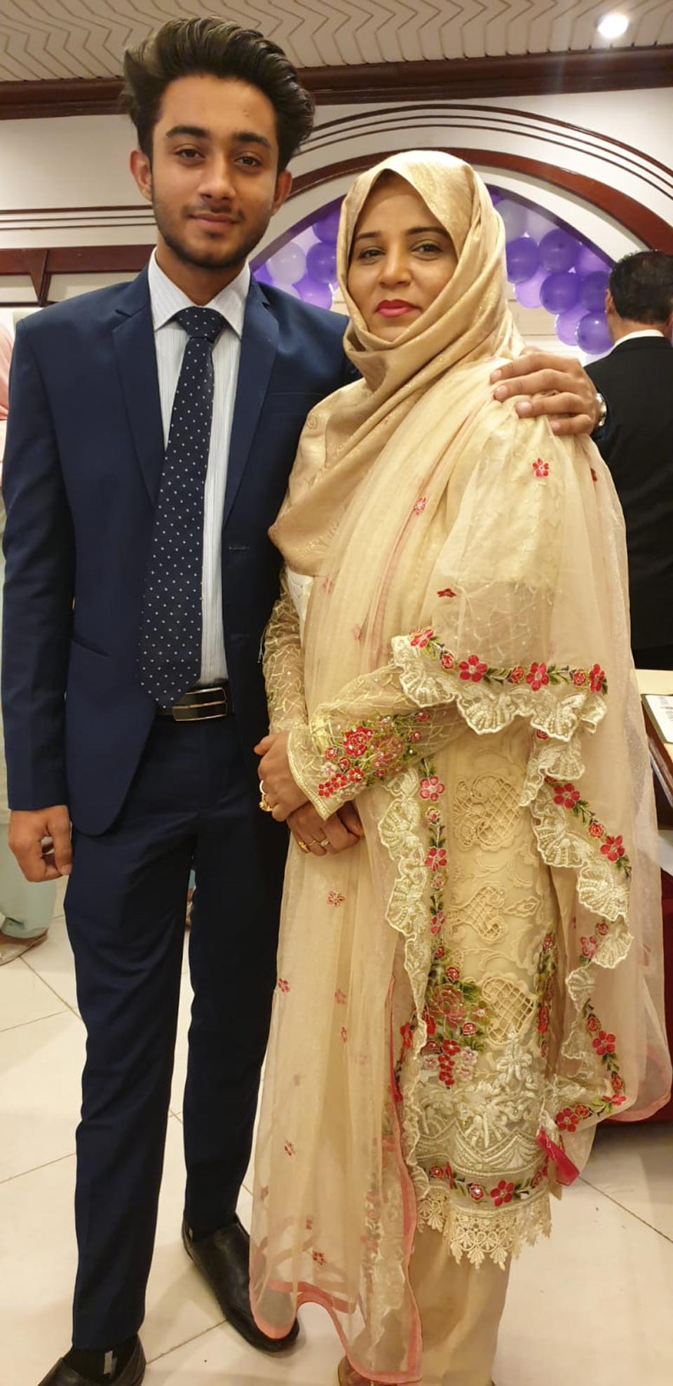 Shameer Khan with his mother Mrs. Sajida Kashif