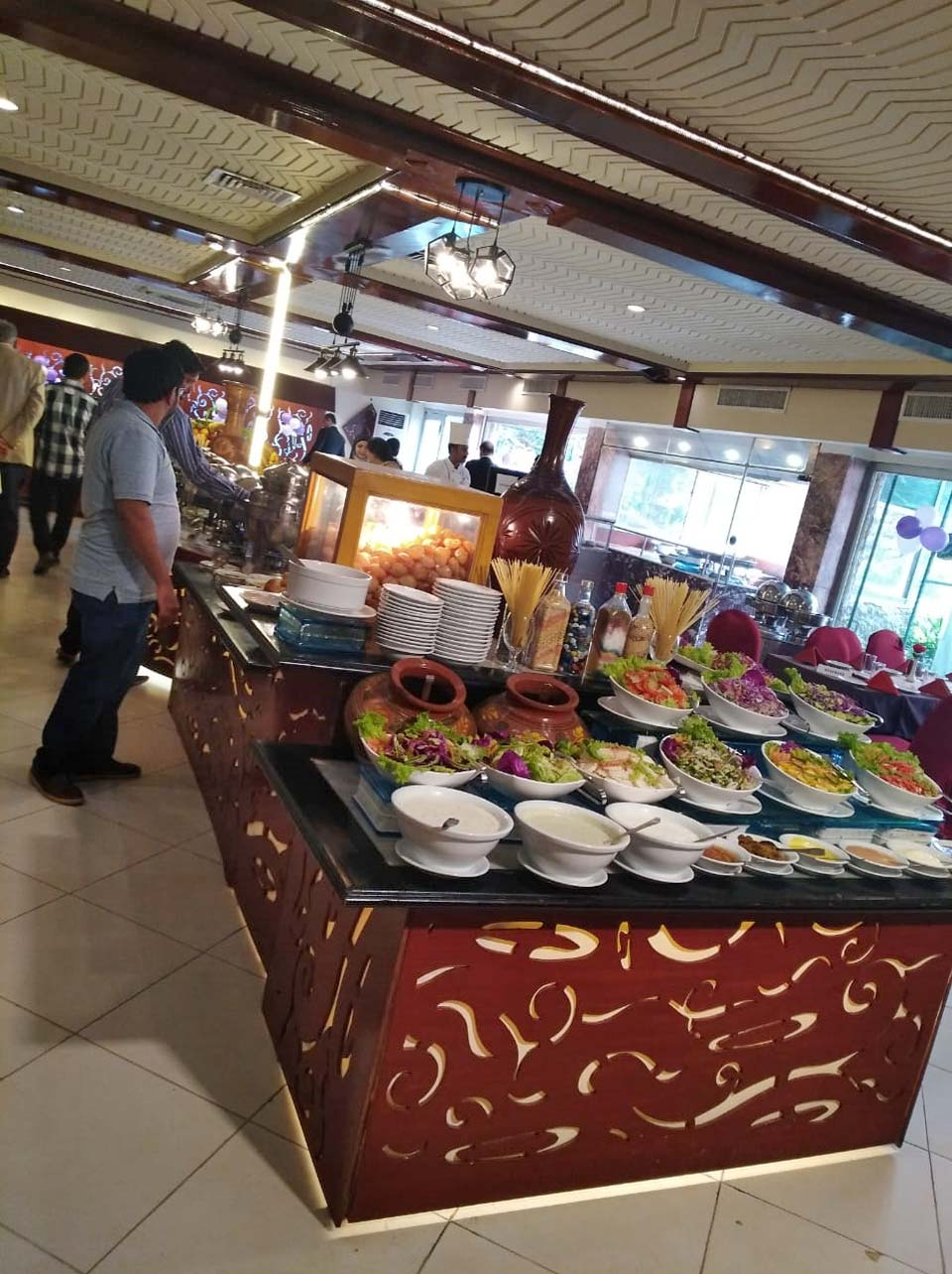 The salad bar at the brunch of Hotel Mehran