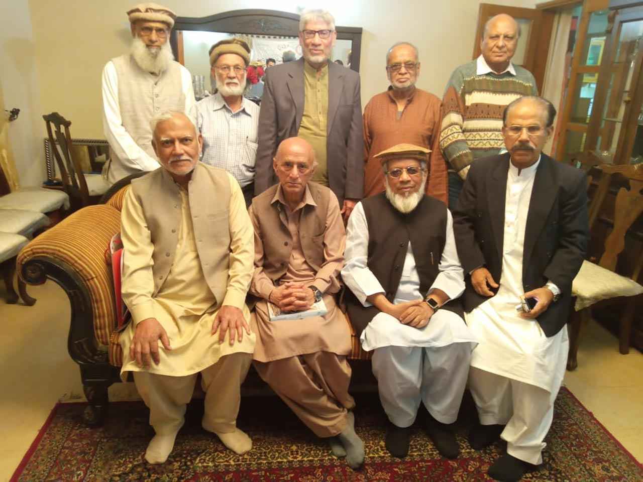 Sitting: Shabbar Hassan Abidi, Kosar Naqvi, Engr. Iqbal A. Khan, Shafiq A. Khan - Standing: Saleemullah Hussain, Engr. SW Fakhri, Muhammad Salim Hamid, MA Matin, Farooq Khan