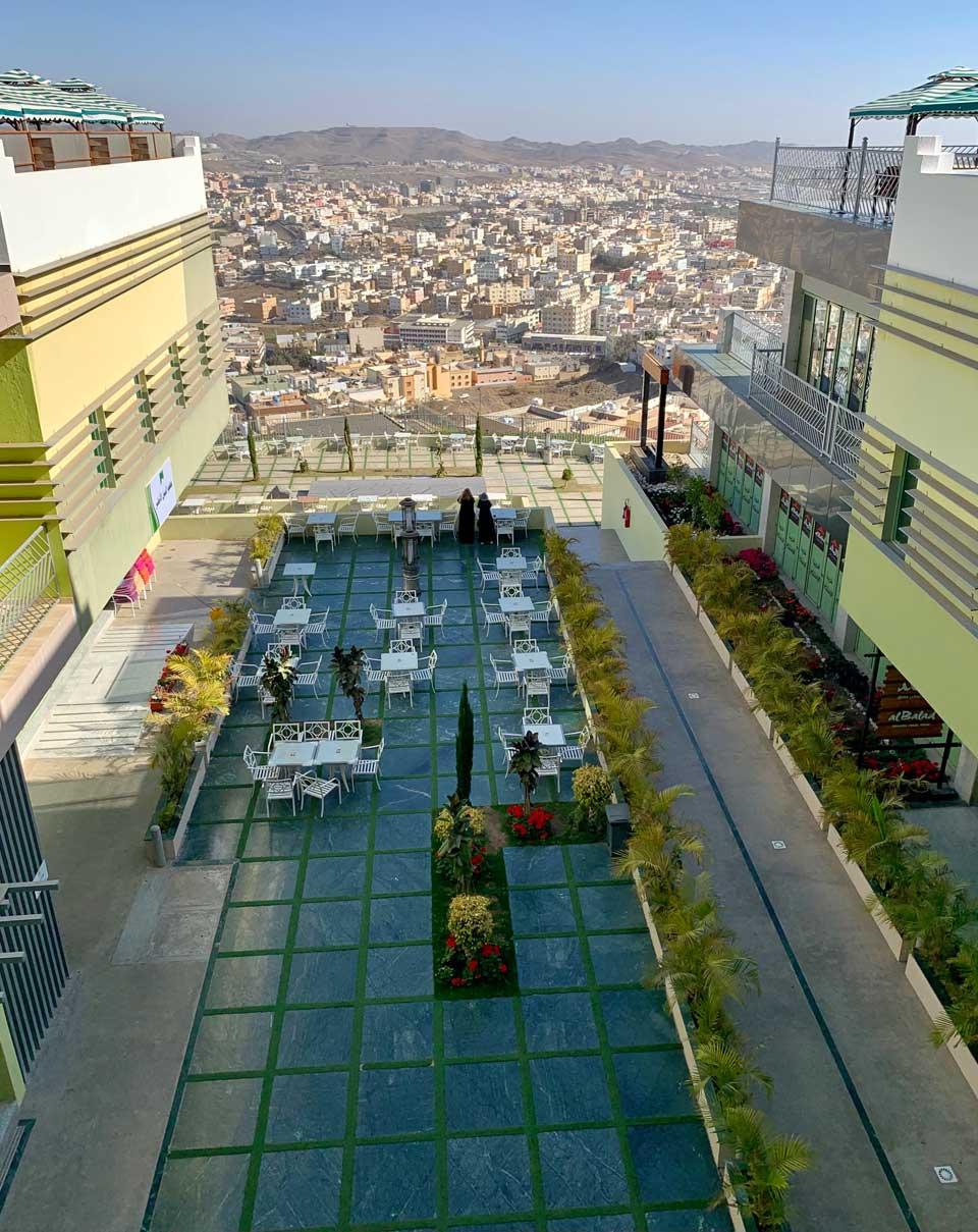 Green Mountain's restaurant terrace. © Mark Lowey.