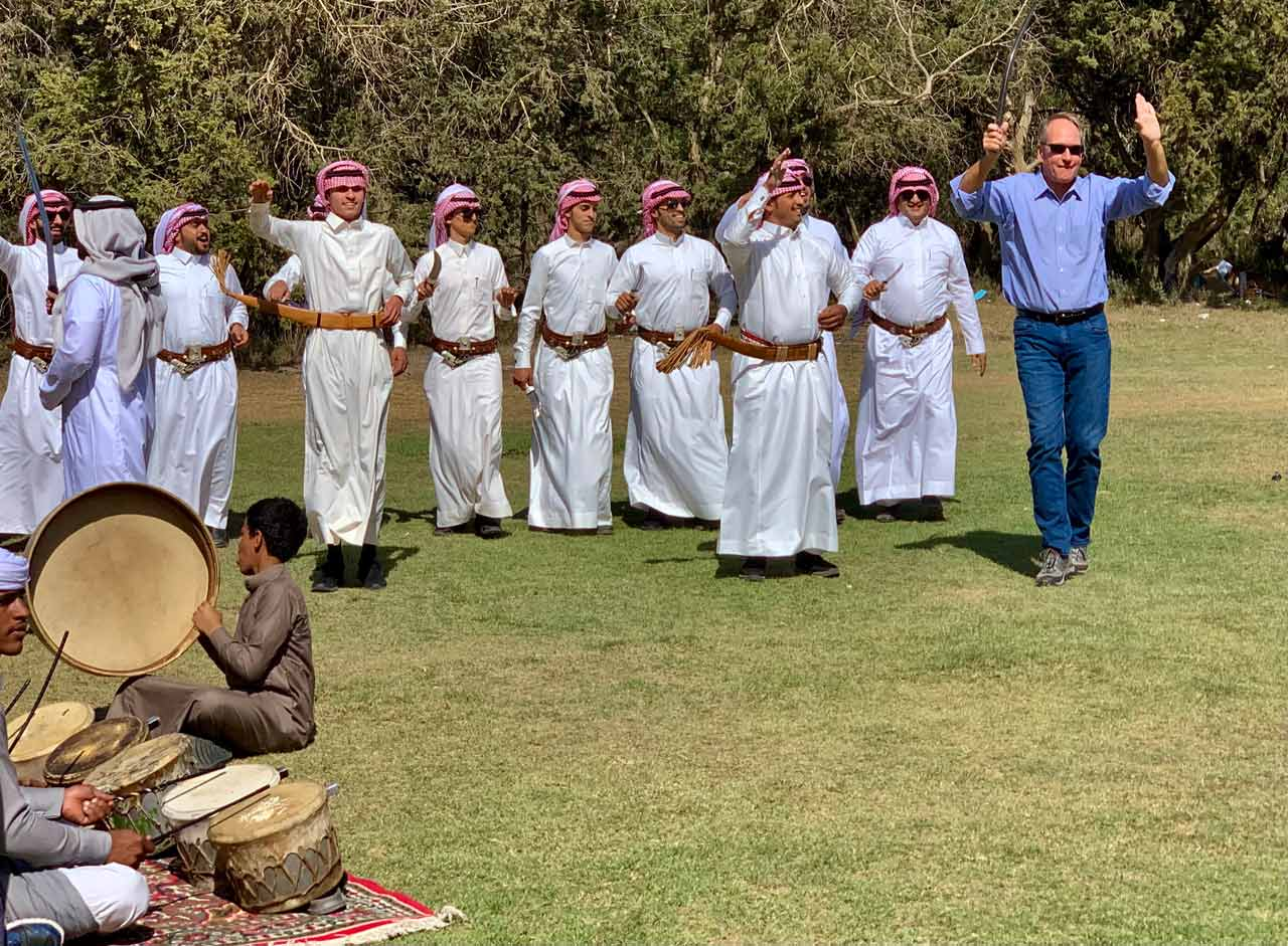 The author joins in the traditional sword dance. © Mark Lowey.