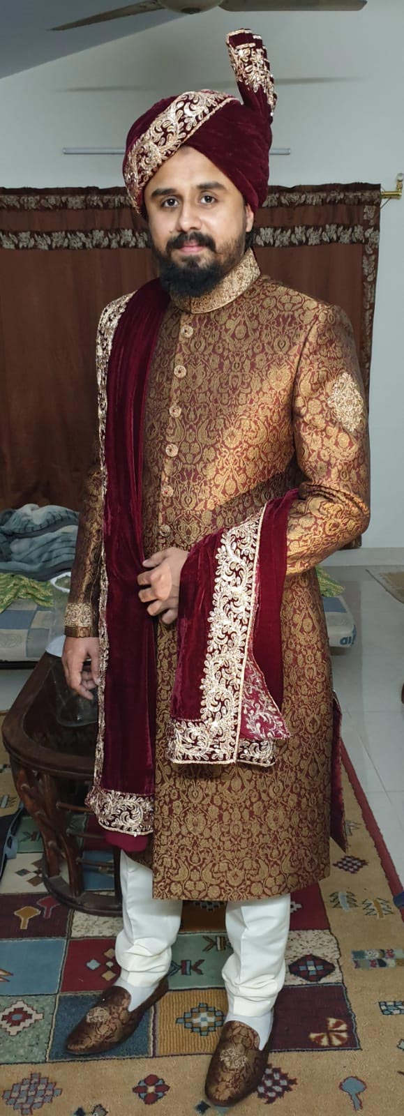 Shabeel Ahmed Khan wearing his Sherwani on the Nikah Day