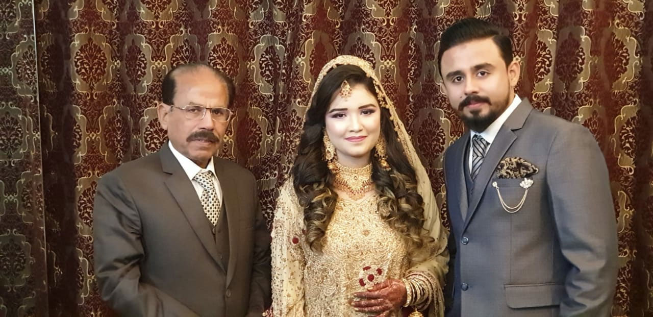 Shabeel and Sahrish with Shafiq Ahmed Khan on Valima reception day