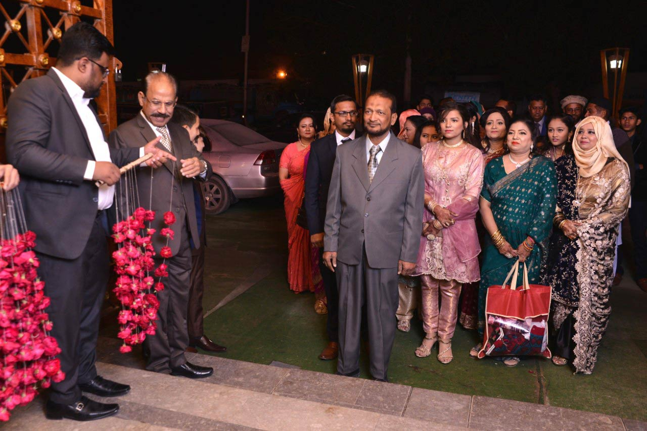The bride family arrived headed by Mr. Muhammad Saleem at the Valima reception