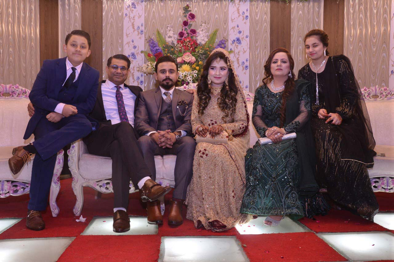 The newlywed with Mr. Rizwan Khan and family at the valima reception, Shabeel Sister Sumara