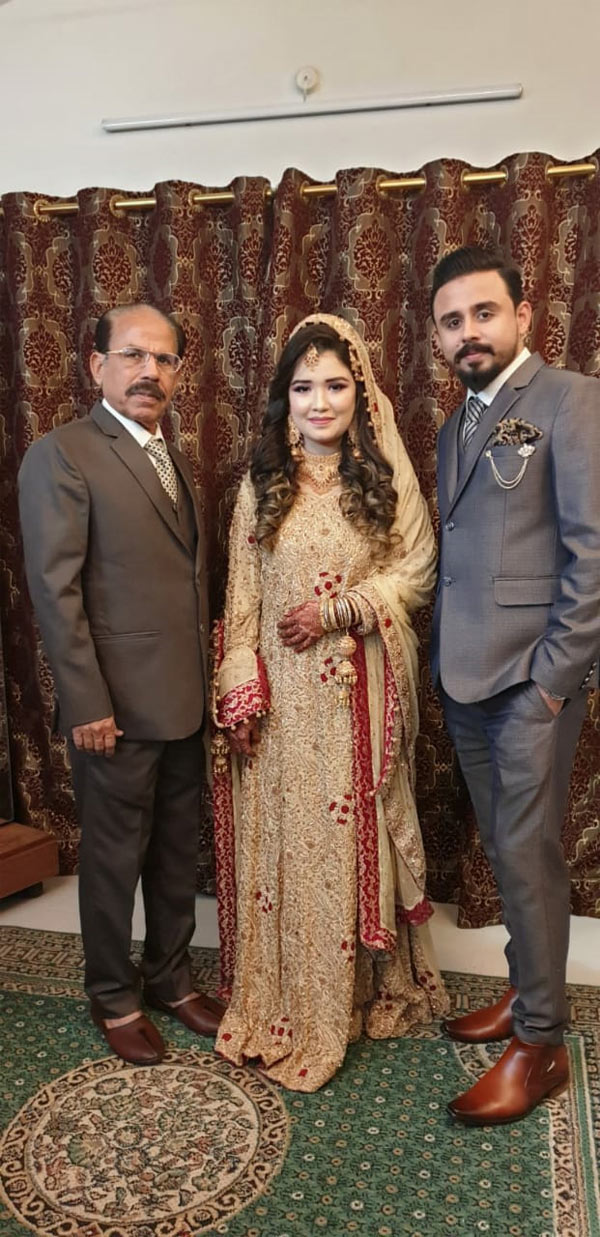 Shafiq Ahmed Khan, Sahrish Saleem and Shabeel A. Khan at the Valima reception