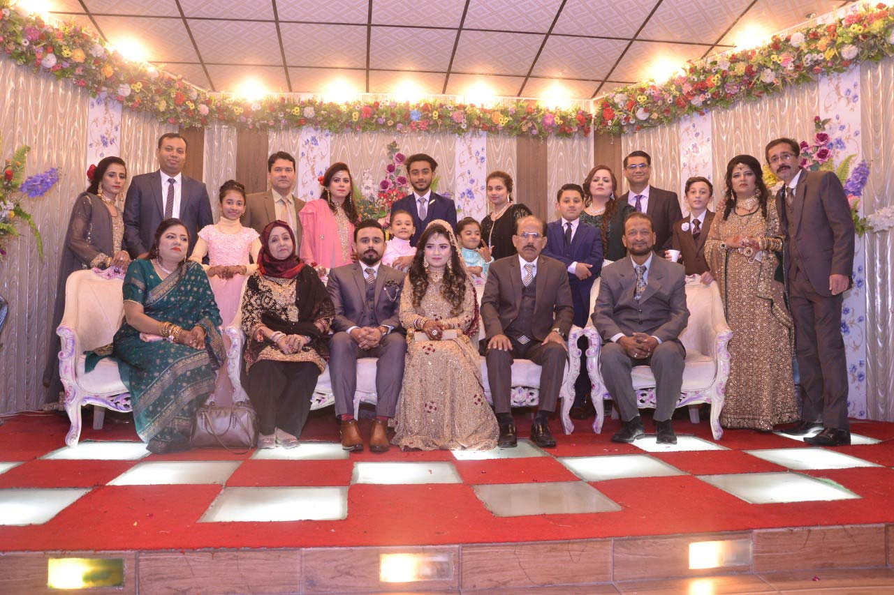 A group of the bride family at the Valima reception