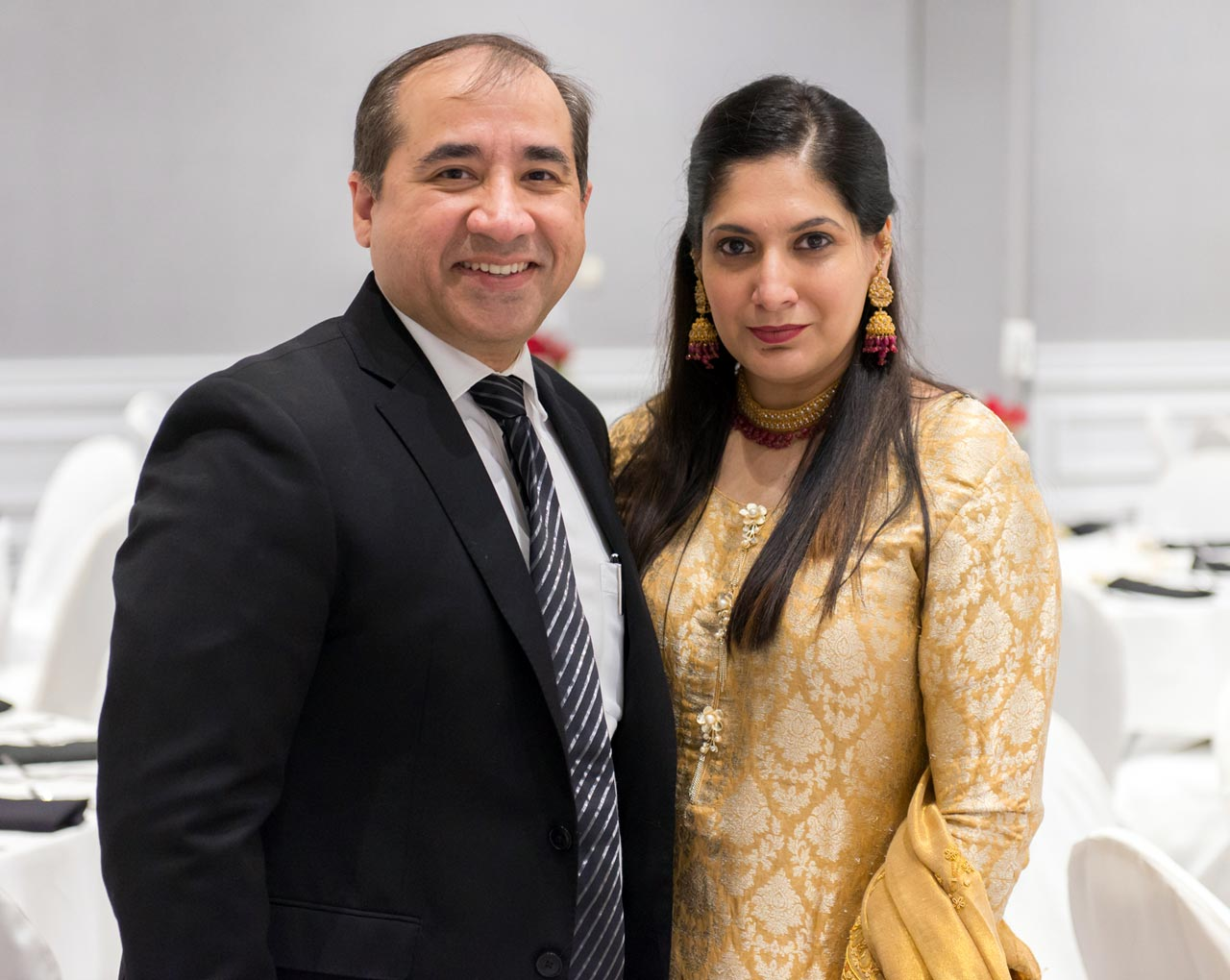 Shaikh Amin's son Zahid and his wife Tayyaba rejoicing the moment before the start of groom side reception in Portland, Oregon.