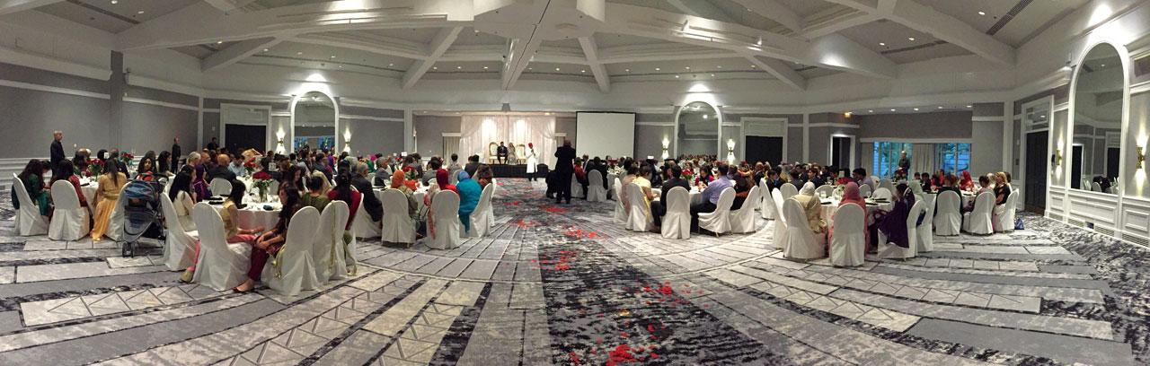 Panoramic view of walima reception hall.