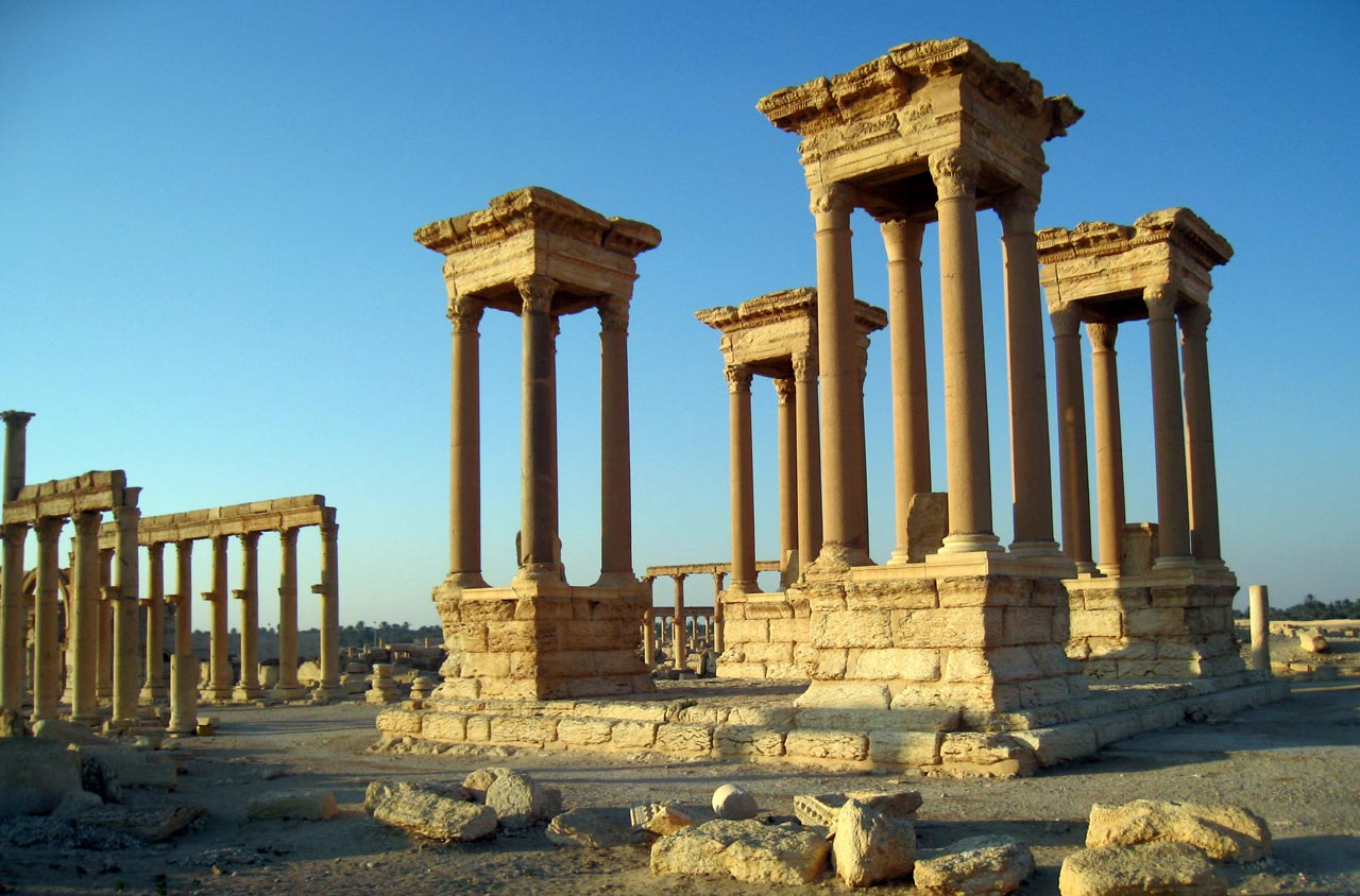 The Great Tetrapylon in the center of Palmyra. © Mark Lowey 2021. All rights reserved.
