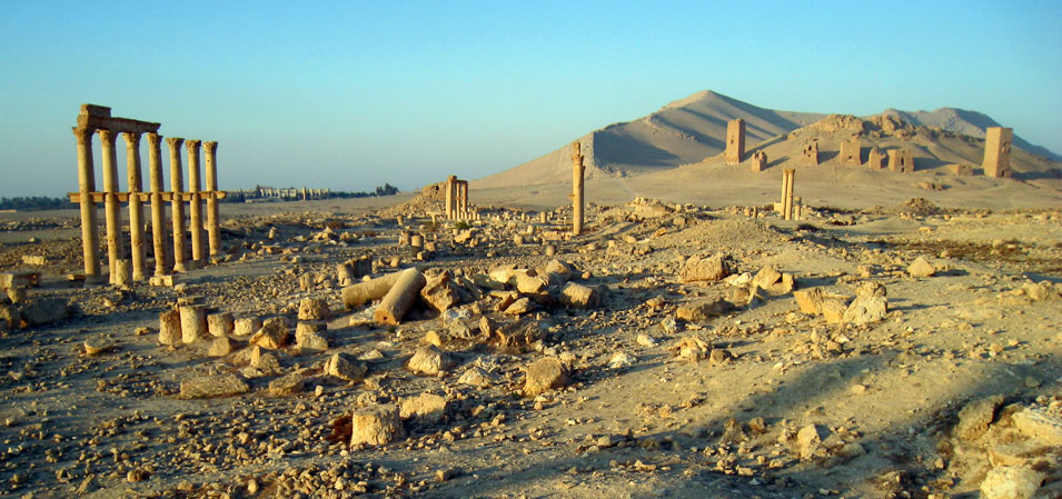 Palmyra's funerary towers on a hill outside of town. © Mark Lowey 2021. All rights reserved.
