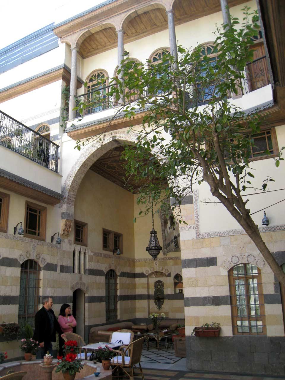 The interior courtyard at Dar Al Mamlouka. © Mark Lowey.
