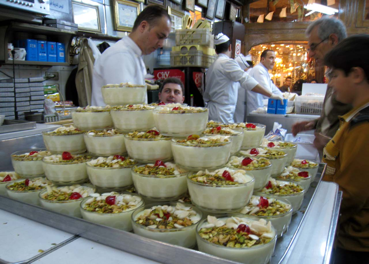 Syrian rose-flavored rice pudding. © Mark Lowey.
