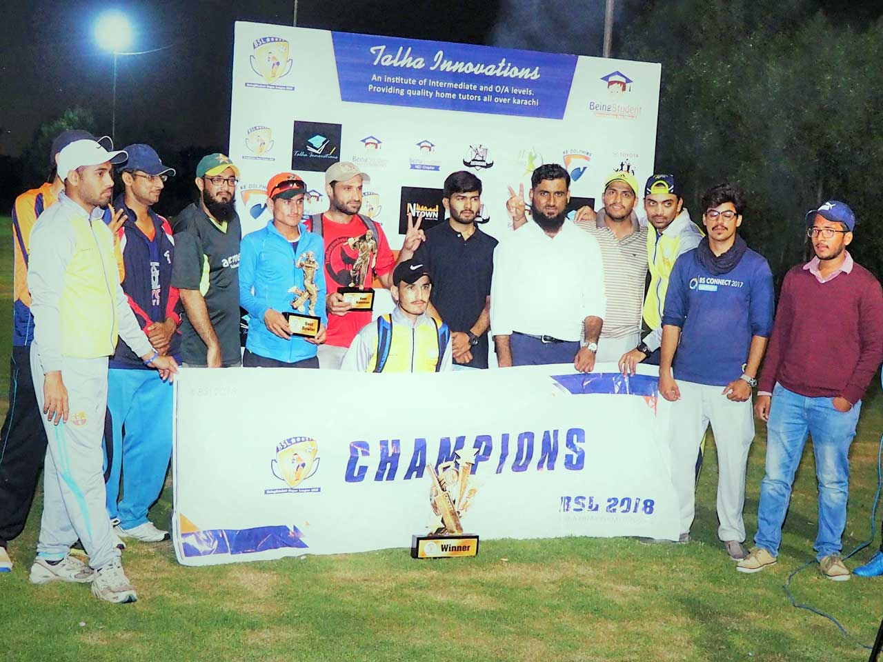 "Group photograph of the Champions of BSL 2018 - ""Sherwani Sports"""