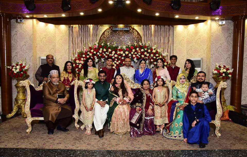 Samia Siddiqui and Taha Khan are with the family members of Samia