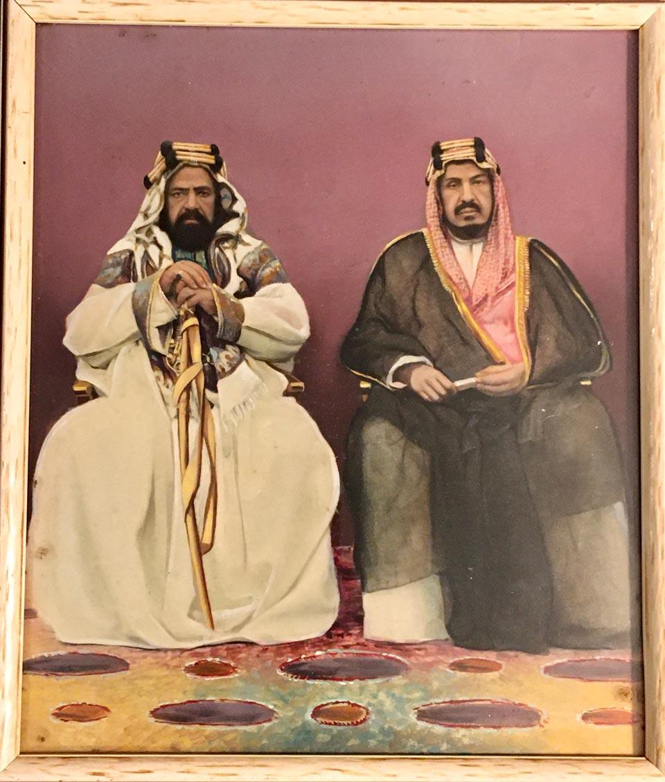 Commemoration painting of Shaikh Hamad and Abdul Aziz, 1939.