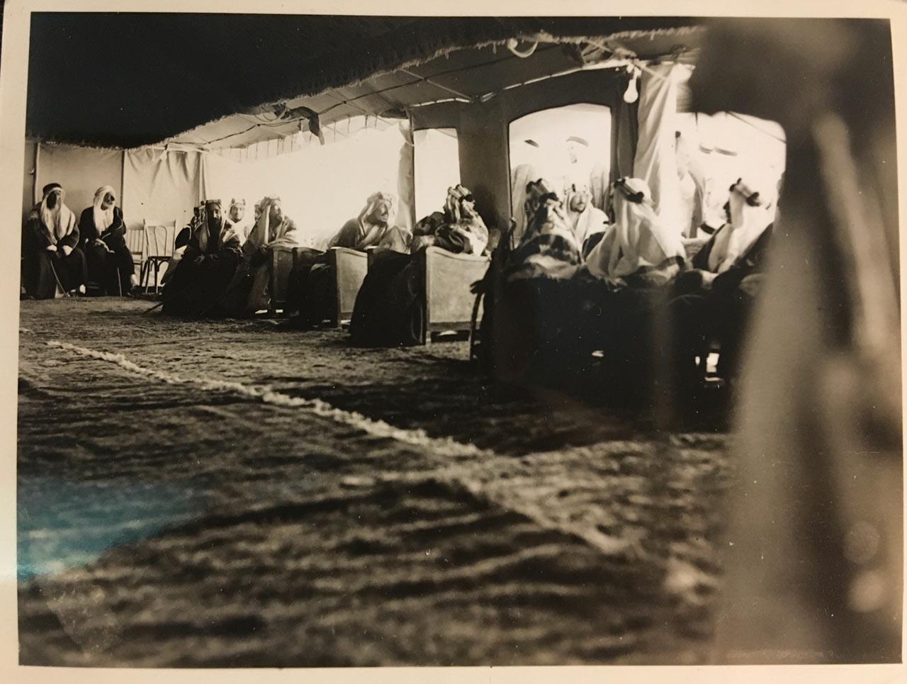 Abdul Aziz (Ibn Saud) 1939 visit with Shaikh Hamad, Ruler of Bahrain.