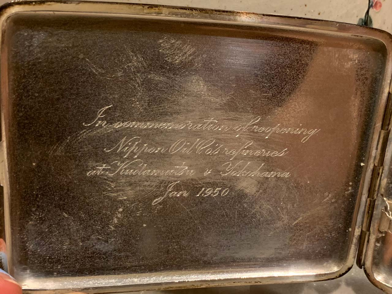 Commemorative gift from Japan's Nippon Oil Company Refineries, Yokohama, Kudamatsu.