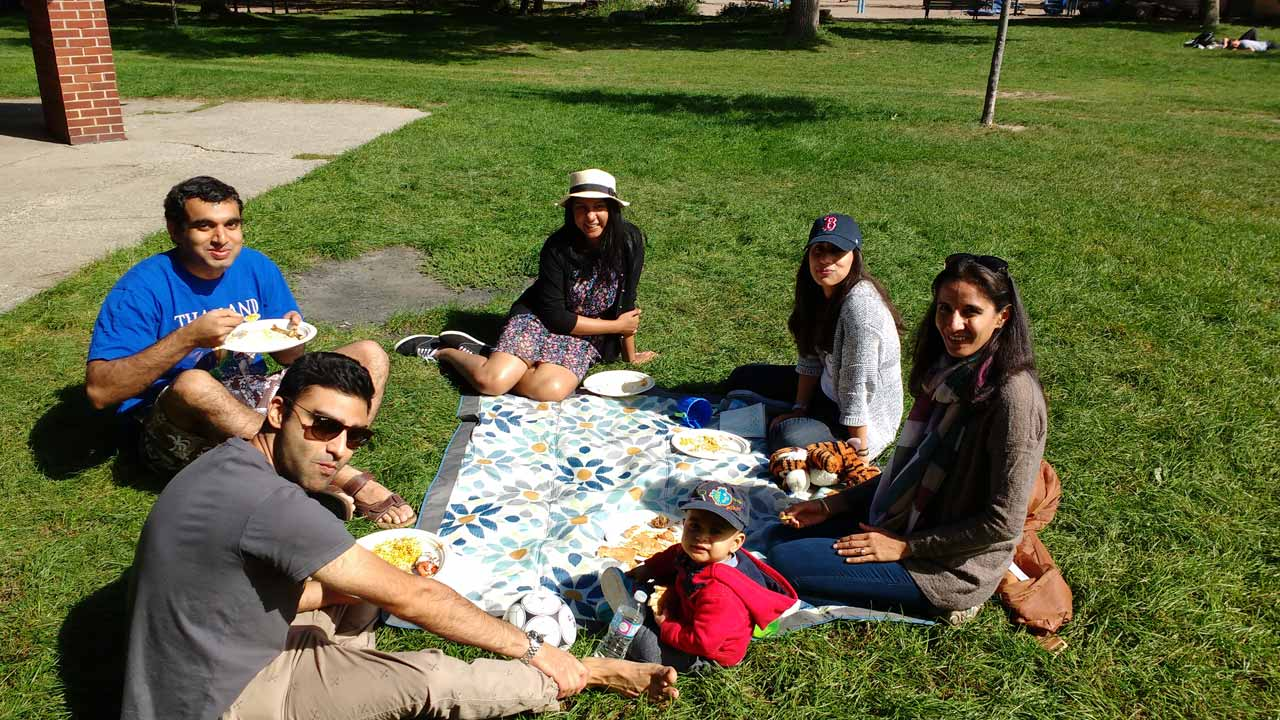 From L to R: Marc Carvalho (in blue), Alim Jivraj, Amanda Pinto, Maha Naeem, Tanaz Jivraj, and her son, Kamran