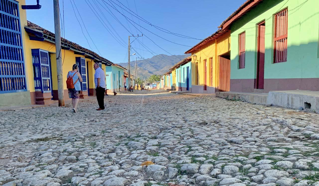 The ancient cobblestone streets of Trinidad, Cuba.