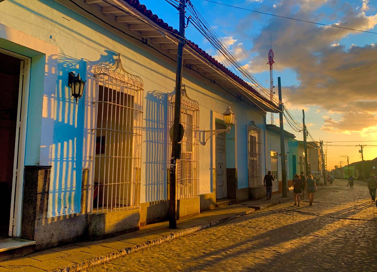 Trinidad streets at sunset.