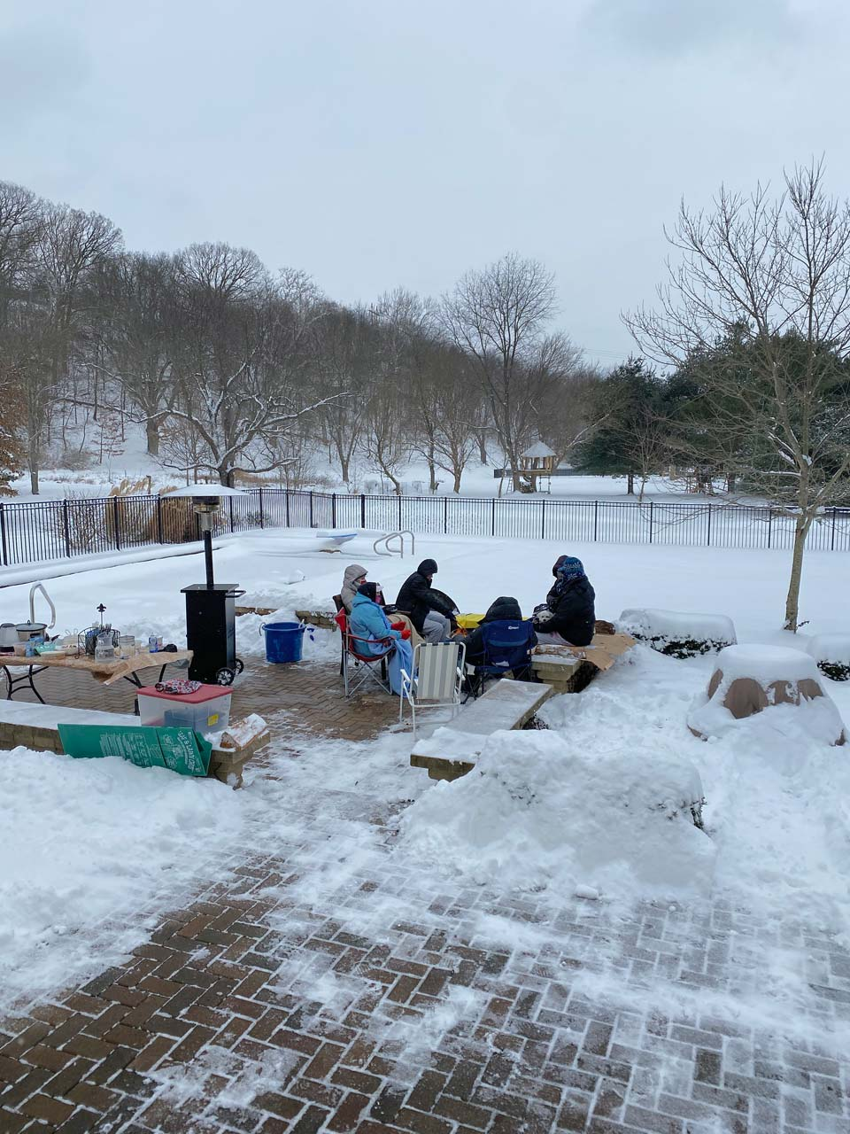 Jim and Linda Neuenschwander celebrated Christmas 2020 in 3° F temperature for 3 hours using a portable propane heater and a wood-burning fire apparatus in central Ohio. We safely ate chill and had hot chocolate and marshmallows for dessert.