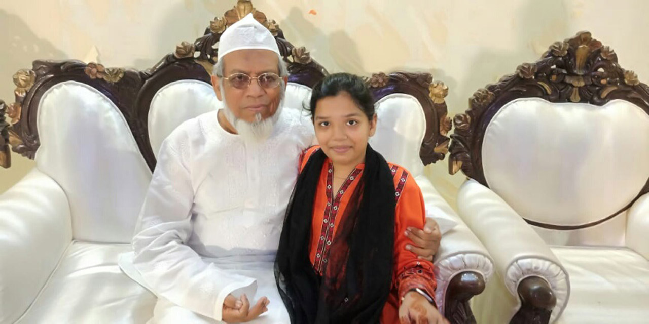 Engr. Iqbal Ahmed Khan with her granddaughter Zoya Imran