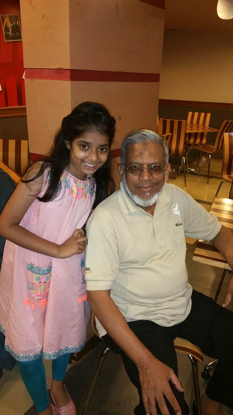 Zara Imran with her grandfather Engr. Iqbal Ahmed Khan