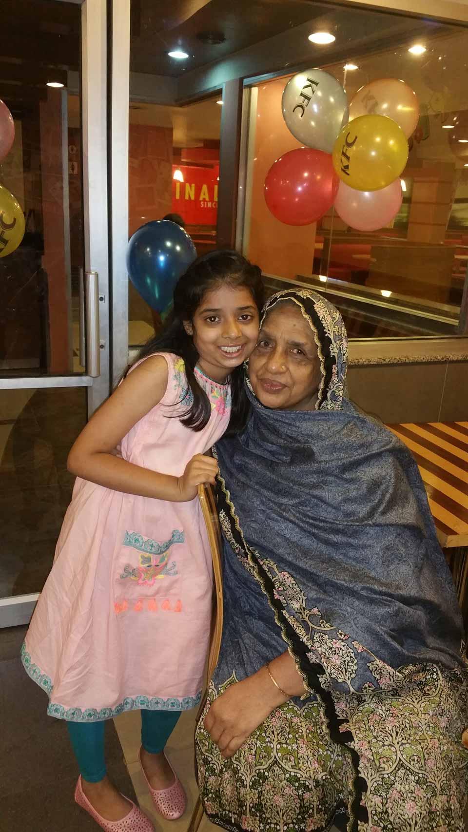 Zara with Rehana Nani from India who is visiting Mrs. Zohra Iqbal