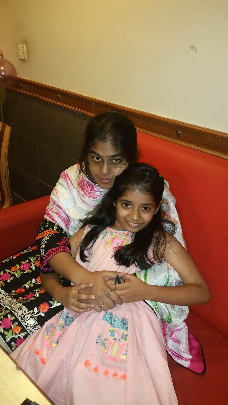 Zara Imran with her aunt Bushra Irshad