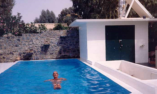 Andre De Raad in his DIY Swimming Pool