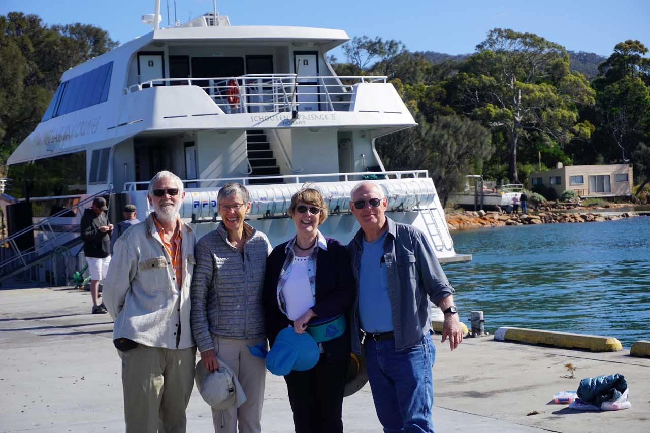Josh and Wendy Cocker and Russ and June Cherry about to board a boat tour to Wineglass Bay in Tasmania