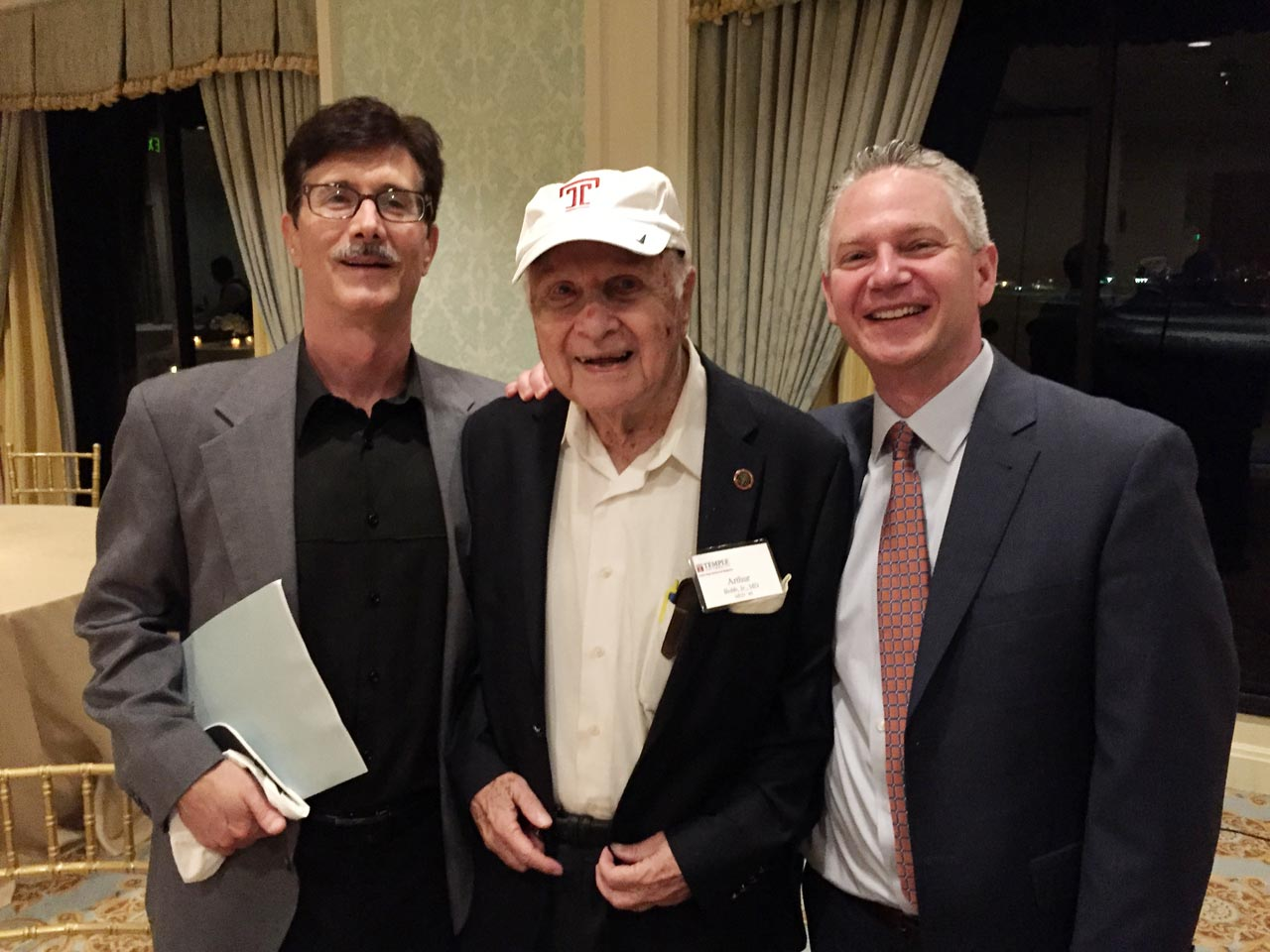 Fred and Arthur Bobb with the Assistant VP for Temple University at the Breakers Hotel in West Palm Beach, Florida.