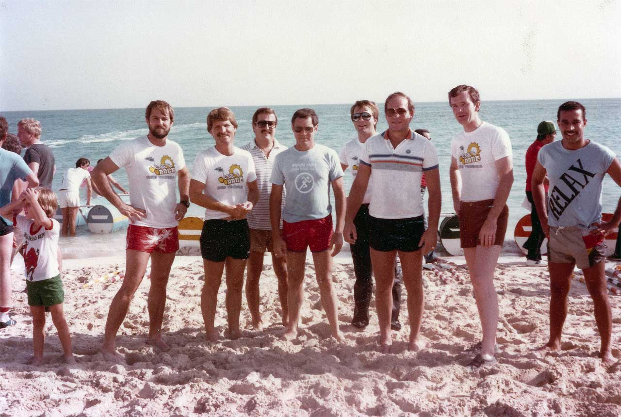 "Marvin Stark, 4th from left, in blue t-shirt. Roger Jolley on his right and Alan Zirgulis in the back row between them, then Jerry Walahan next to who we believe to be Khalid Al Falih. Marvin says, ""I'm sorry I cannot remember the names of the others, but I can remember their laughs."""