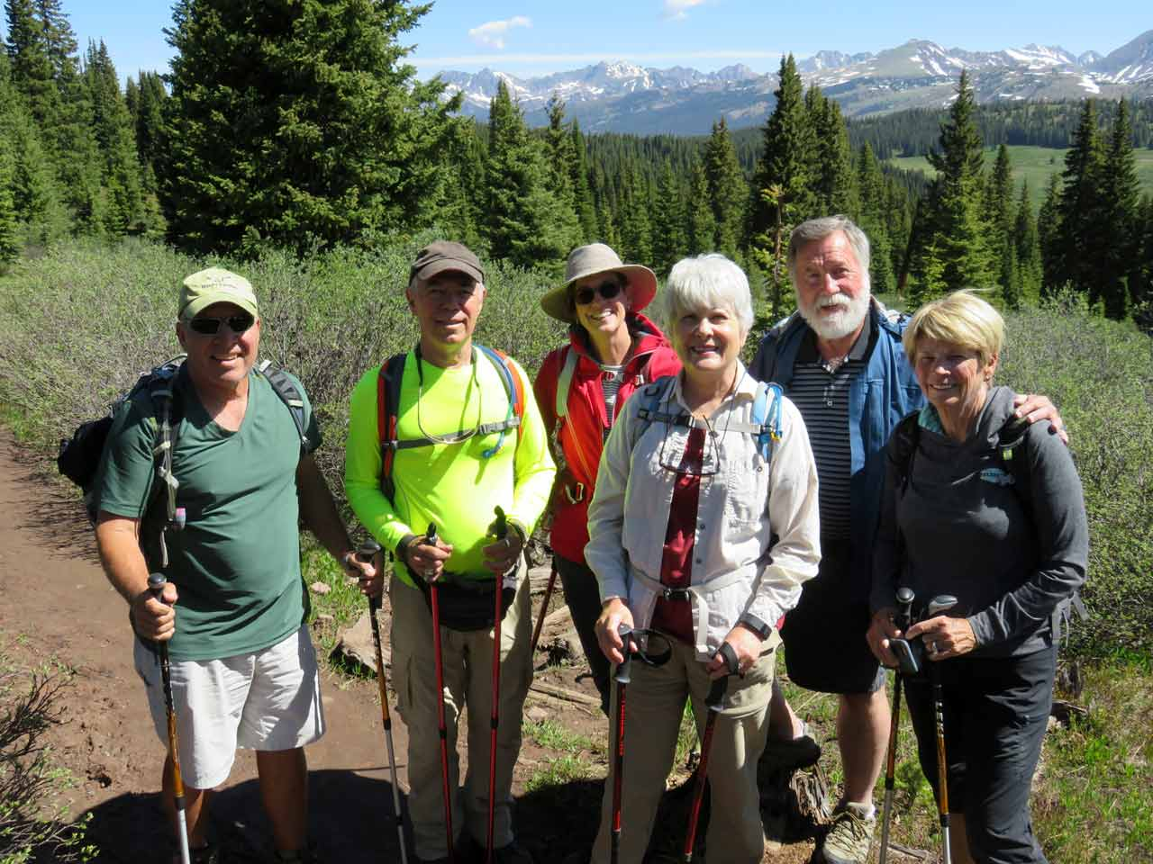 Chuck and Patt Peterson, Jeff and Jane Clark, Schuyler and Phyllis Stuckey hiking at Shrine Pass