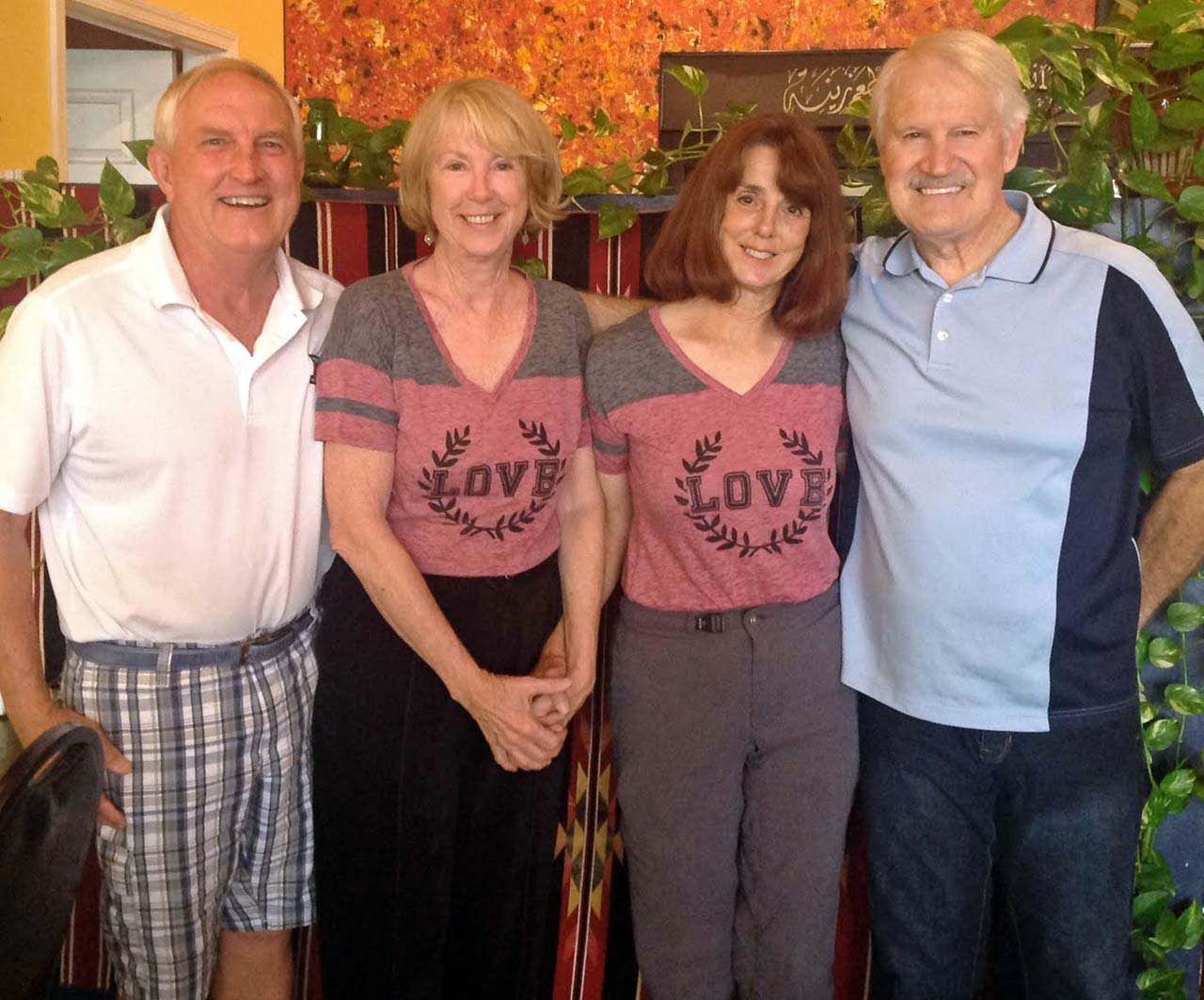 "L to R: Gary Howell, Nancy Williams Howell, Donna Pugh, and Jim Pugh. ""Nancy and Gary Howell treated us to dinner at Zayna Mediterranean restaurant in Tucson, Arizona, and food almost tasted like we were back in Saudi Arabia."""