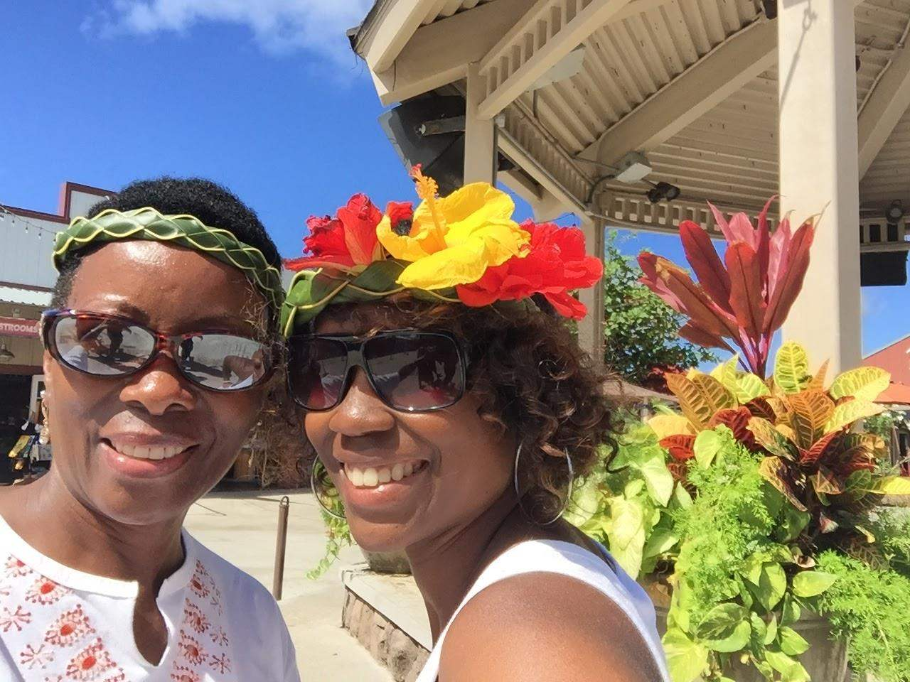 Shirley Seymour and her daughter, Ayisha Uri Seymour, enjoy a day at the Polynesian Cultural Center, Oahu, HI in September 2017.