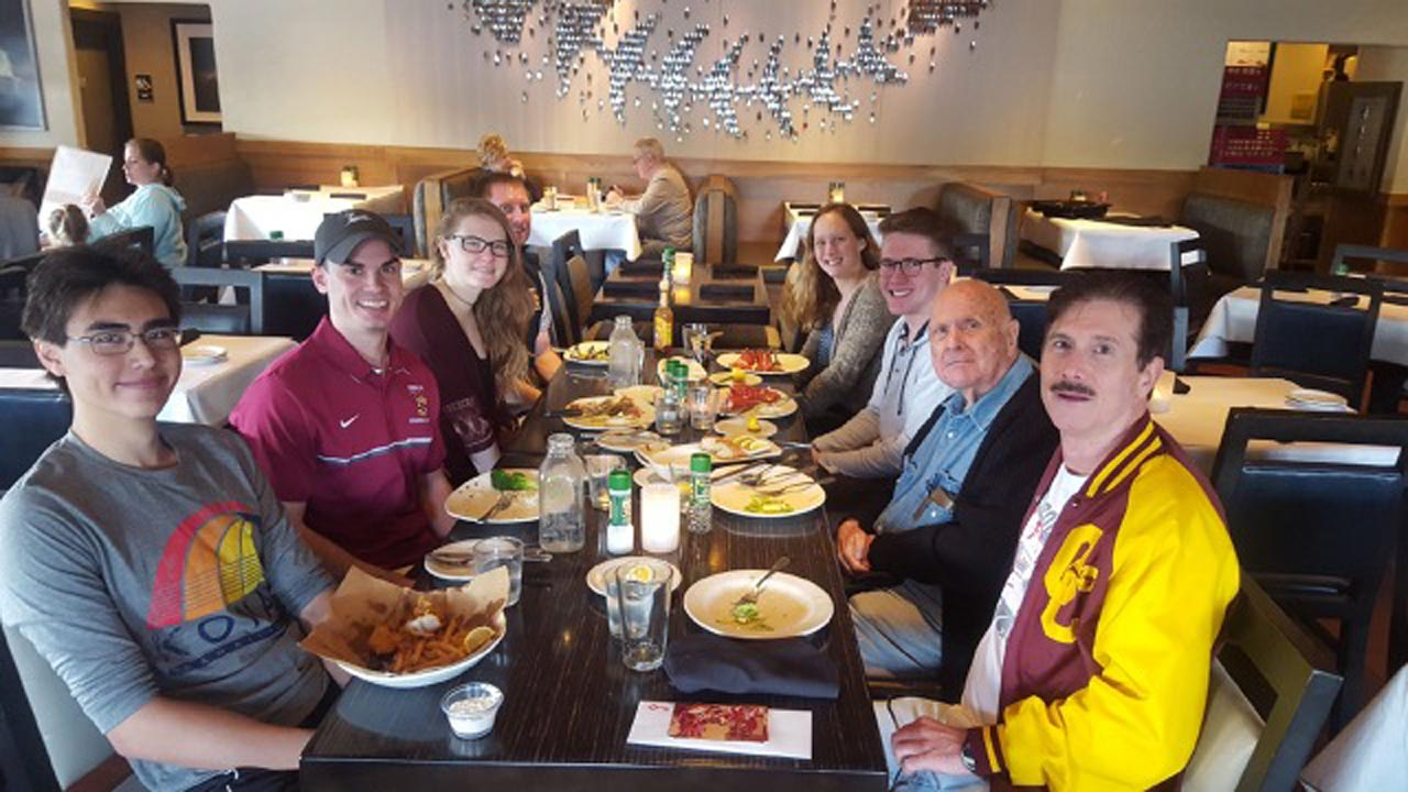 Fred Bobb enjoying lunch at Bonefish Grill with The Oberlin College varsity swimmers and coaches. From right side of table to left: Fred Bobb (Oberlin class of '79), Arthur Bobb (Fred's dad), Mathew Berry (Oberlin sophomore), Rachel Poyle (Oberlin junior), Andy Brabson (Head Coach), Tesla Waters (Oberlin freshman), Jesse Gregory (Assistant Coach), Kristoph Naggert (Oberlin sophomore)