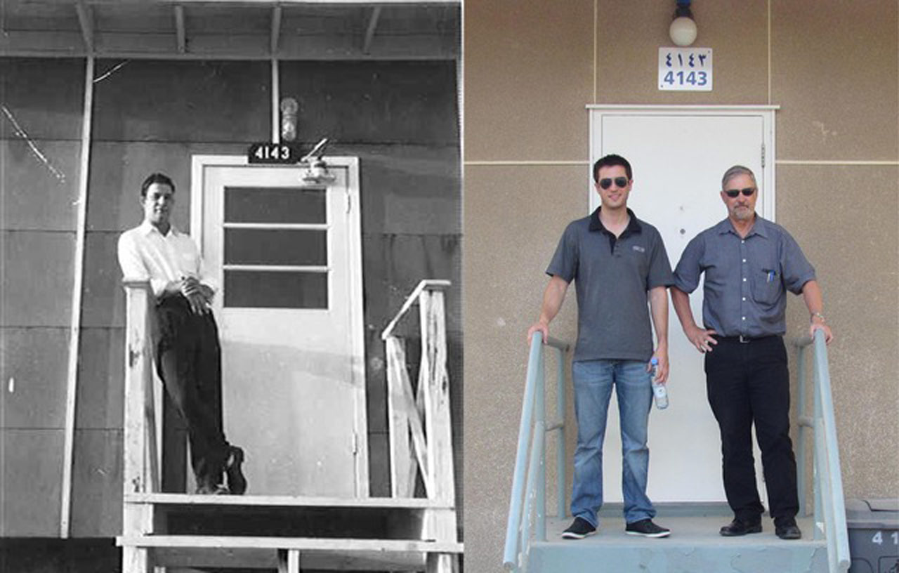 Three generations of Kochinskis in Saudi Arabia - my father, Leo, on the left in 1948  at 4143 - a Swedish prefab in Dhahran across from the movie theater. On the right my son, Andrew, and I at the same place 67 years later. Andrew was working on the Sadara project in Jubail.