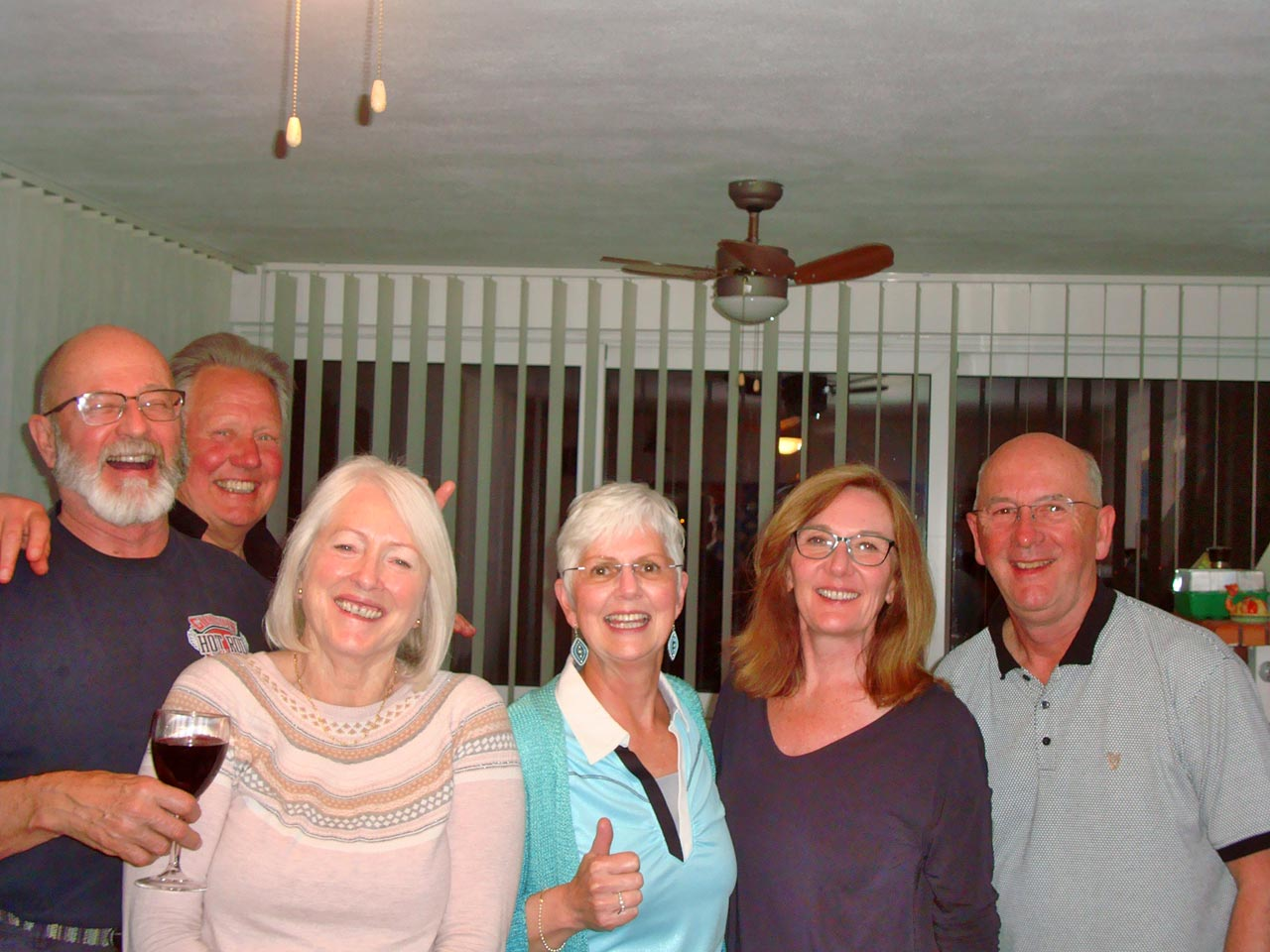 Retirees enjoying an evening in Arvid & Jakki's 'Pool House'