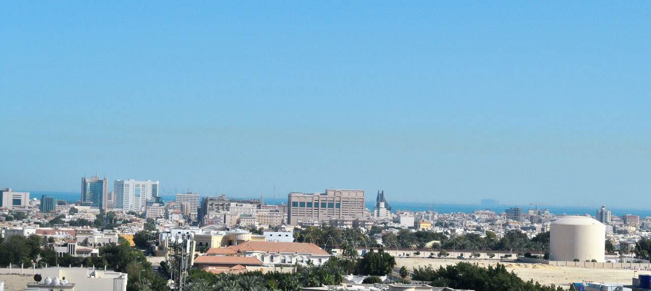 A clear day from our Sadara offices looking over Al-Khobar toward Bahrain in 2011 - you can see the buildings of Manama on the horizon.
