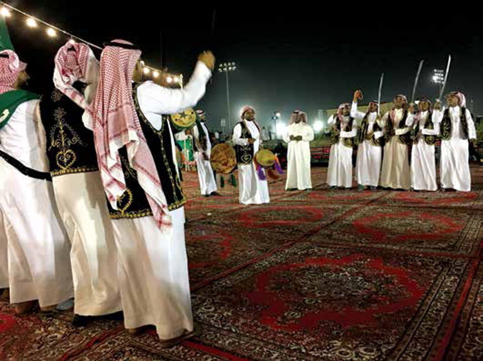 "Traditional Ardah celebrations as part of Community Services' 2018 ""Bedouin Nights"" in Dhahran."