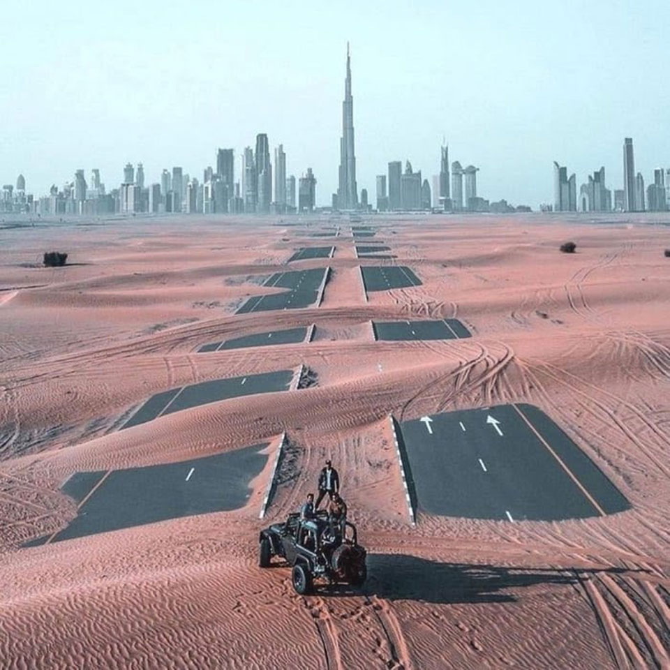 Main road to Dubai gradually being reclaimed by the desert thanks to inactivity during the coronavirus crisis.