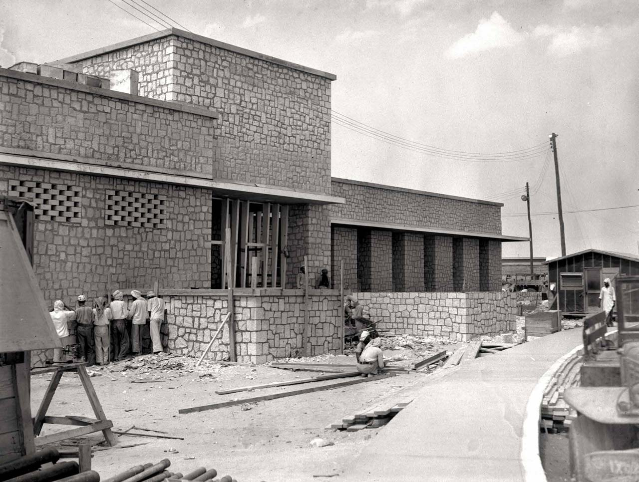Craftsmen Building the Dhahran Dining Hall - 1948