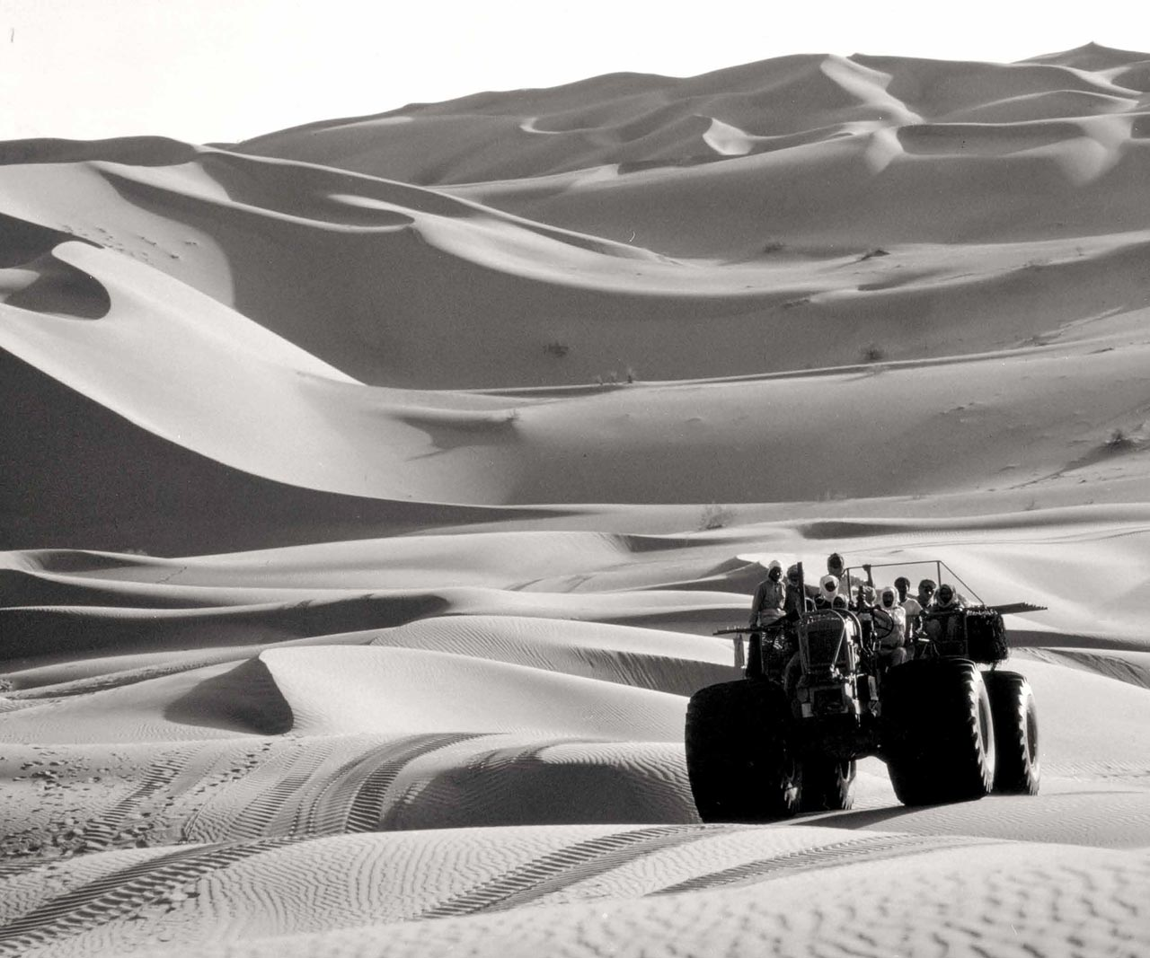 An Exploration Party in the Rub' al-Khali Traverses the Dunes Aboard a Sand Buggy