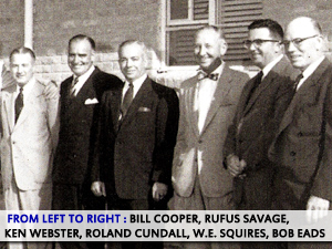 Top Aramco management, photographed in Dhahran on March 17, 1955. From left: Bill Cooper, Rufus Savage, Ken Webster, Roland Cundall, W.E. Squires, Bob Eads. (Aramco photo courtesy Tim Barger, from Ken Slavin's personal collection.)