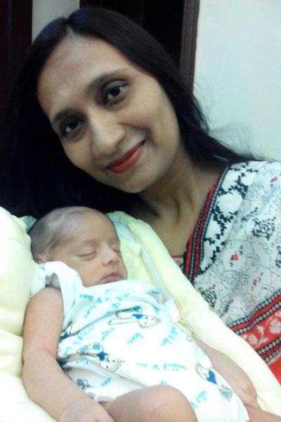 Baby Muntaha Shahzad with Sadaf Aunty