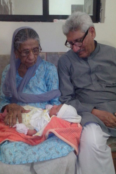 Mr. Muhammad Salim Hamid with his mother and Master Muhammad Hashir Faraz