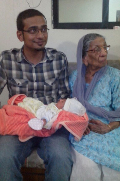 Saad Salim with his grand mother and the Baby Muntaha Shahzad