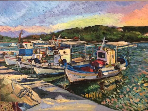 Christine Smith Paints Among the Fisherman in Porto Heli